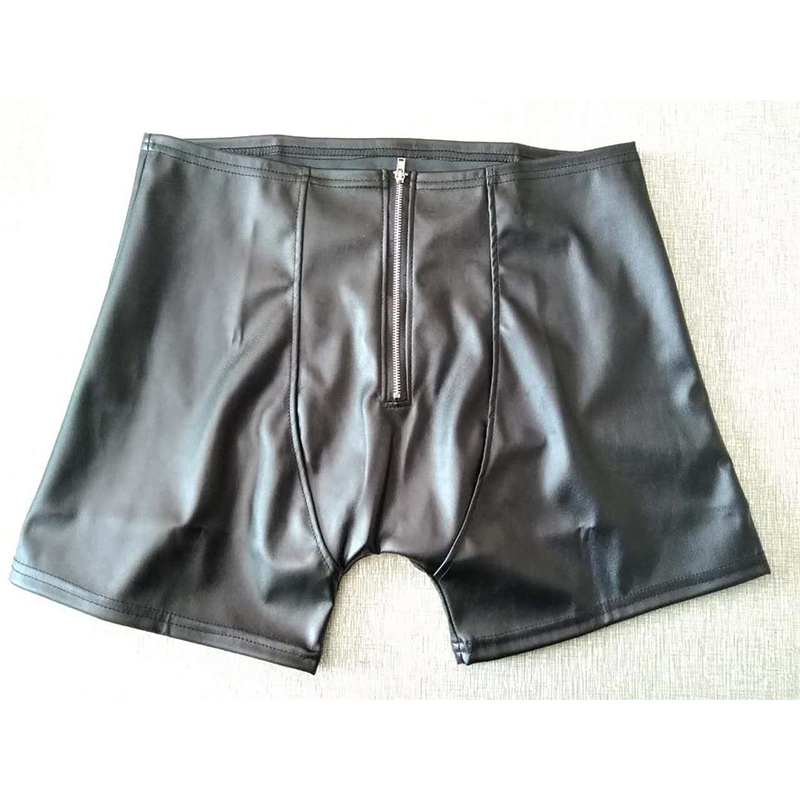 Sexy Front Zip Back Hole Underwear Men Black Patent Leather Boxers Shorts Man Capsule Underpants Calzoncillos Hombre Boxer Marca