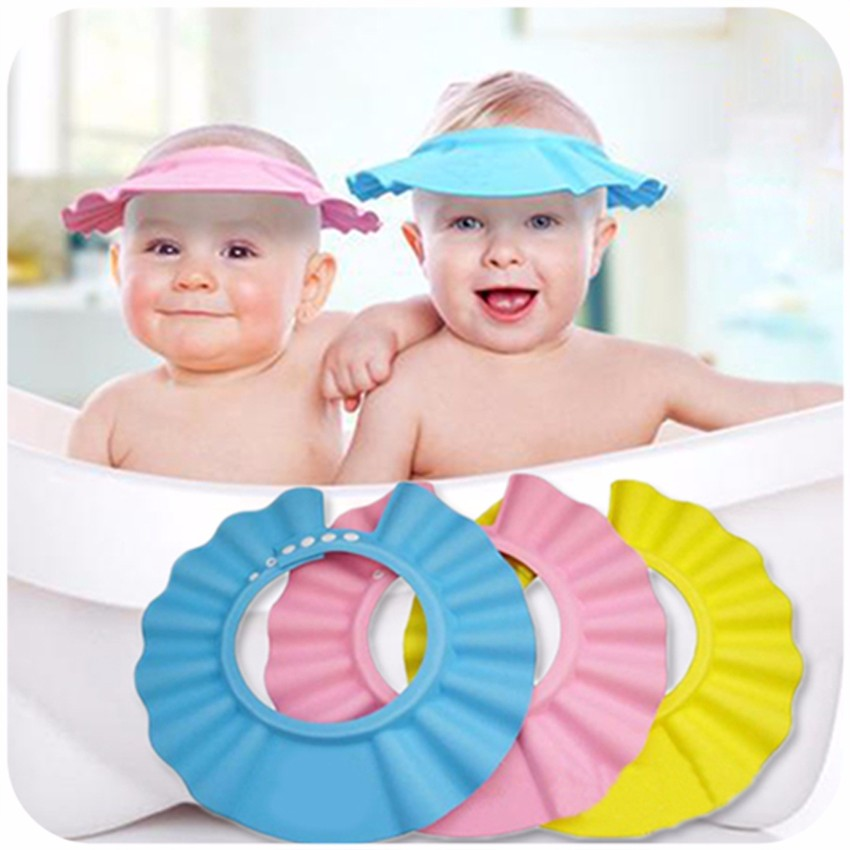 Perfect Hot Baby Shower Cap Soft Shampoo Baby Care Cap Baby Bath Protect Cap  Adjustable Shower Hat