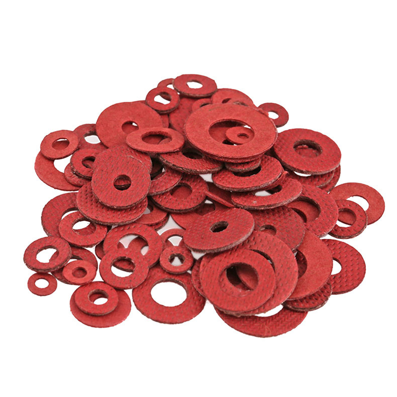 1000pcs M2 M2.5 M3 M4 M5 M6 <font><b>M8</b></font> Flat Pad Insulation <font><b>Washers</b></font> Red Paper Meson Gasket Spacer Insulating Spacers image