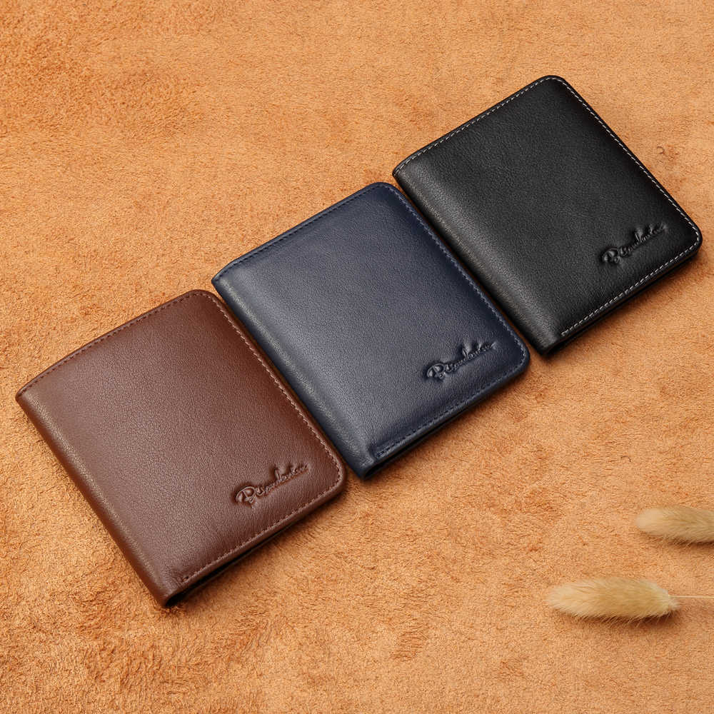 Мужское черное мини портмоне BISON DENIM, тонкий бумажник-держатель для карт, мягкие кошельки из натуральной воловьей кожи, 2019