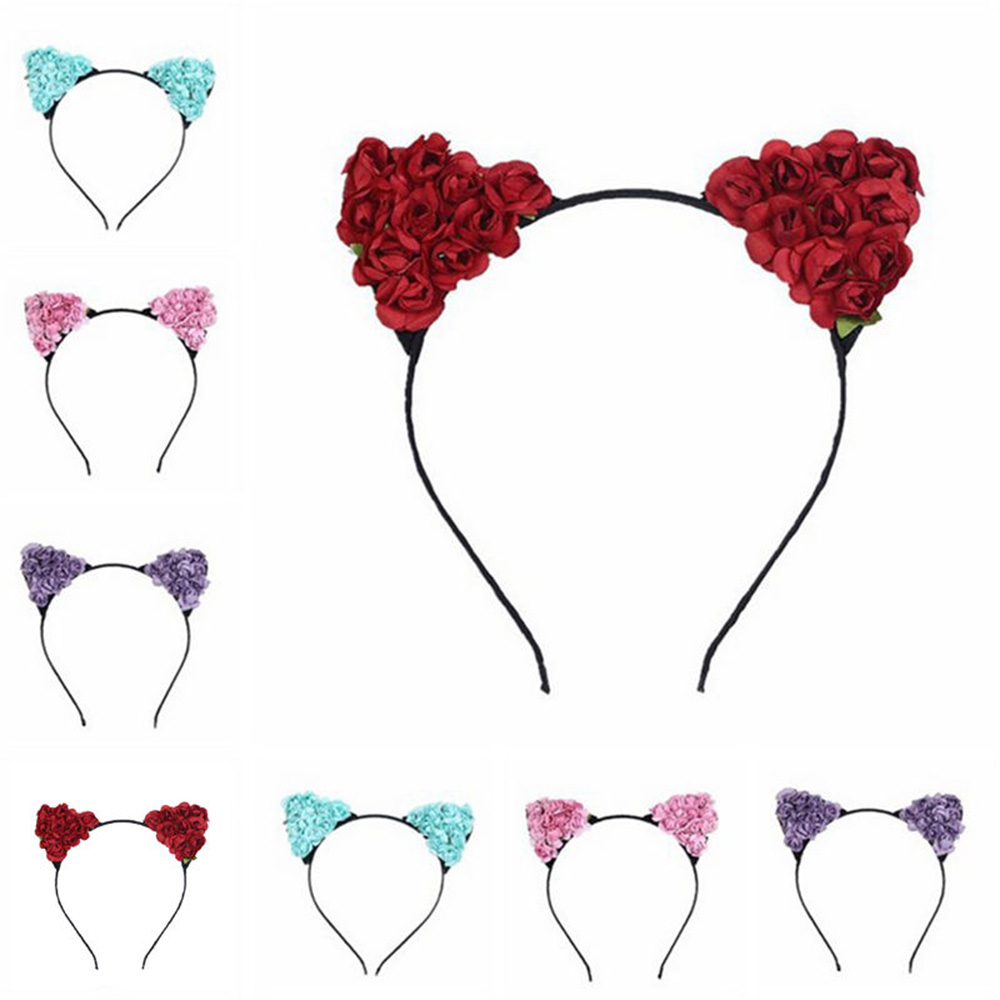 New Floral Cat Ears Headband Party Costume Head hair band Hair Accessory Gift night party club decorate headbands for women cat fox ear headband cosplay head band