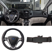 DIY Sewing on PU Leather Steering Wheel Cover Exact Fit For Ford Fiesta 2008 2013 Ecosport 2013 2016