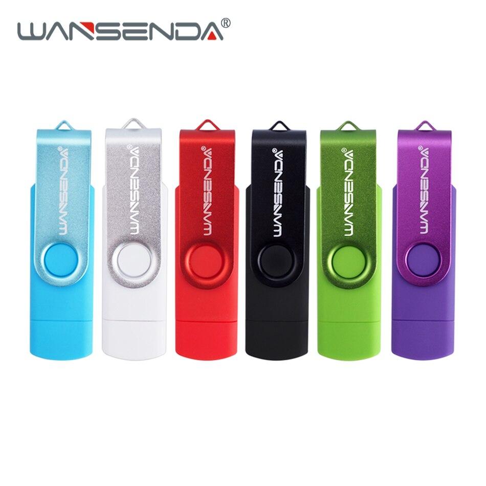 WANSENDA High Speed OTG Usb Flash Drive Metal Pen Drive 8GB 16GB 32GB 64GB 128GB 256GB Pendrive 2 In 1 Dual Plug Micro USB Stick