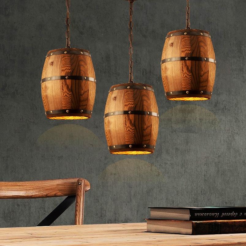 Retro Loft Bois Fut Pendentif Lampe Entrepot De Restaurant Salle A