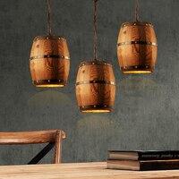 Retro loft wood cask pendant lamp restaurant warehouse dining room Wine cellar aisle corridor pub cafe chandelier barrel light
