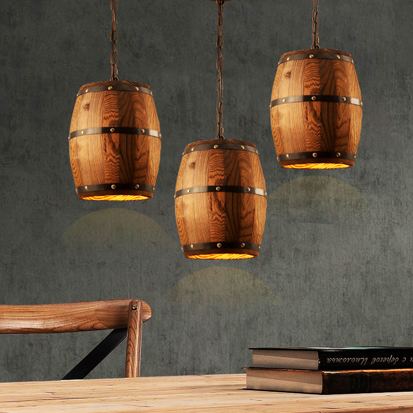 Retro loft wood cask pendant lamp restaurant warehouse dining room Wine cellar aisle corridor pub cafe chandelier barrel light wine cask shape automatic plastic toothpick holder black