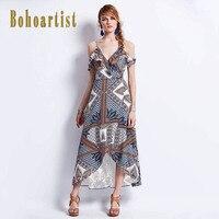 Bohoartist Women Long Dress Summer Asymmetrical Print Sleeveless Spaghetti Strap Apparel Elegant Bohemian Ladies Maxi Dresses
