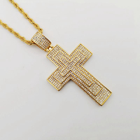 2019 New Bling Bling full rhinestone Cross pendant necklace Luxury Gold color stainless steel hip hop rock big cross necklace