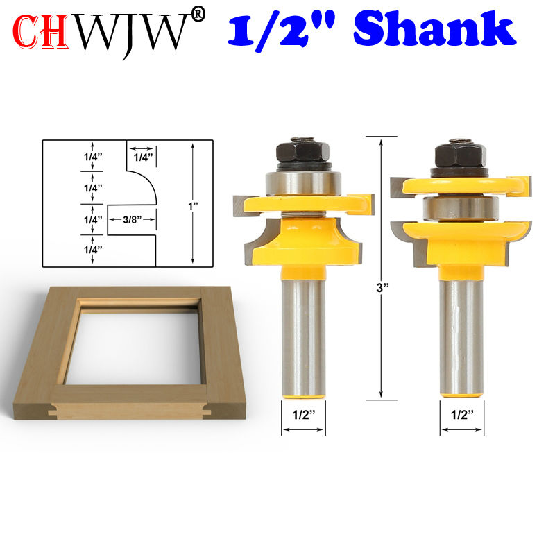 2PC 1/2 Shank Rail & Stile Router Bits - Matched door knife Woodworking cutter Tenon Cutter for Woodworking Tools 1pcs 8mm shank entry door for long tenons router bit woodworking cutter woodworking bits tenon cutter for woodworking tools
