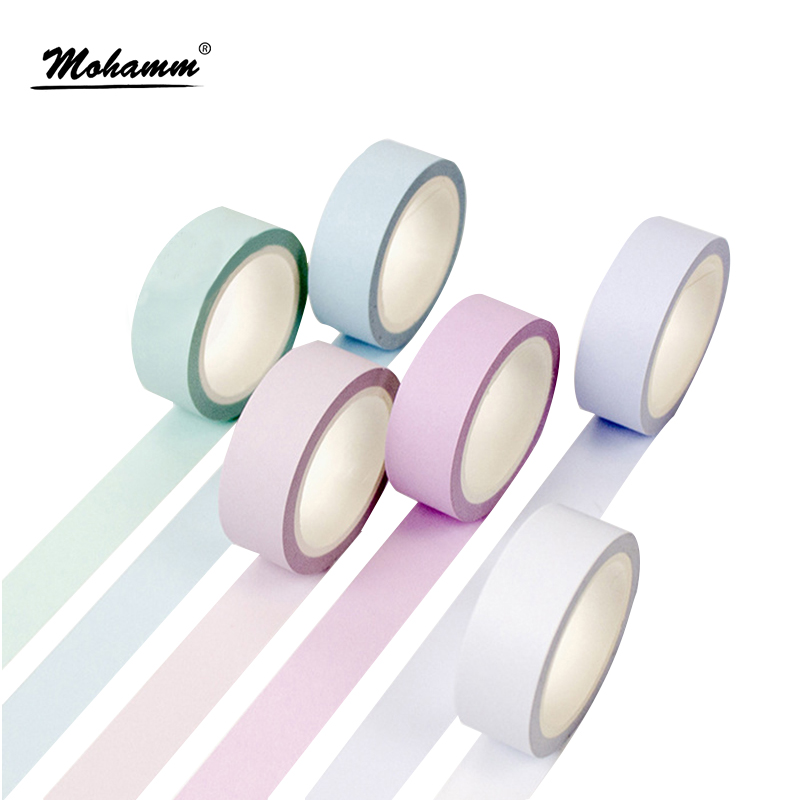 15mmx8m Solid Color Blue Cute Rainbow Masking Washi Tape Japanese Decorative Adhesive Tape Diy Scrapbooking Tools Sticker Label