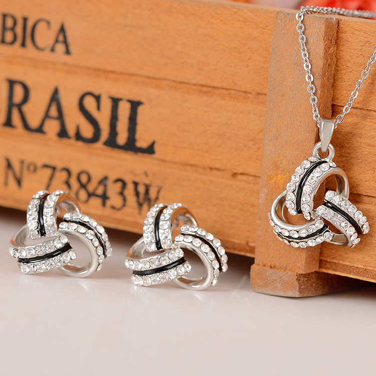 ZOSHI Trendy Knotted Jewelry Sets Fashion Rhinestone Crystal Jewelry Statement Women Silver Chain Necklace And Earrings Wedding