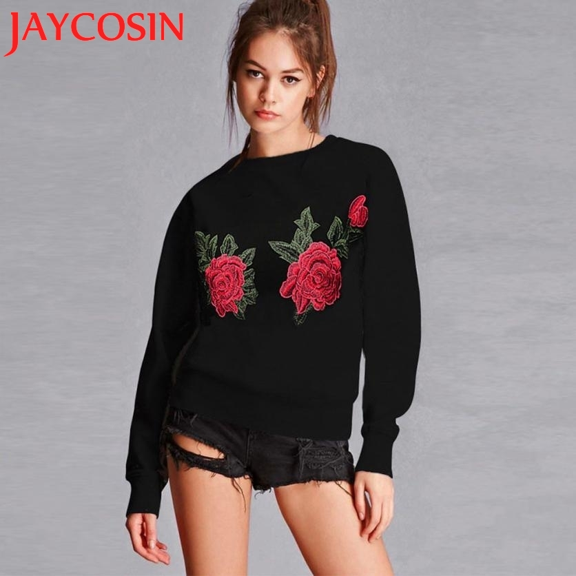 2017 New Design Womens Embroidery Applique Long Sleeve Warm Sweatshirt Pullover Tops Sudaderas Pullover Tops Drop Shipping 807