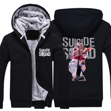 Mens Casual 2016 Movie Suicide Squad Harley Quinn Hoodies Zip Up Winter Fleece Super Warm Cotton Black Sweatshirts