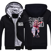Mens Casual 2016 Movie Suicide Squad Harley Quinn Hoodies Zip Up Winter Fleece Super Warm Cotton