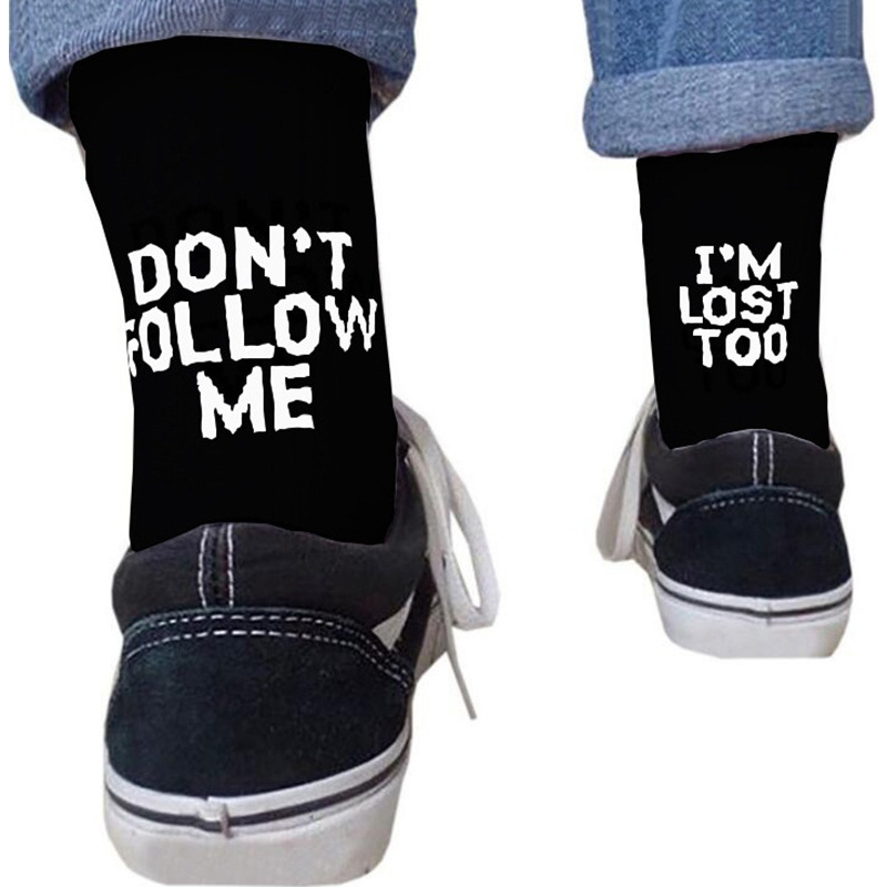 Man Happy Funny Socks Cotton Harajuku Crazy Fun Socks Hip Hop Boy Cute Alphabet Socks Men Middle Tube Socks Dont Follow Me