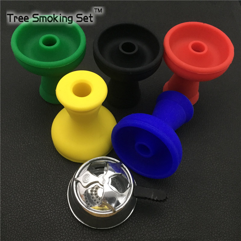1pc Silver Scrub Hookah Bowl+1pc Large vortex shisha hookah bowl Holder water pipe Metal Heat 5Colors Available Silicone Smokers ...