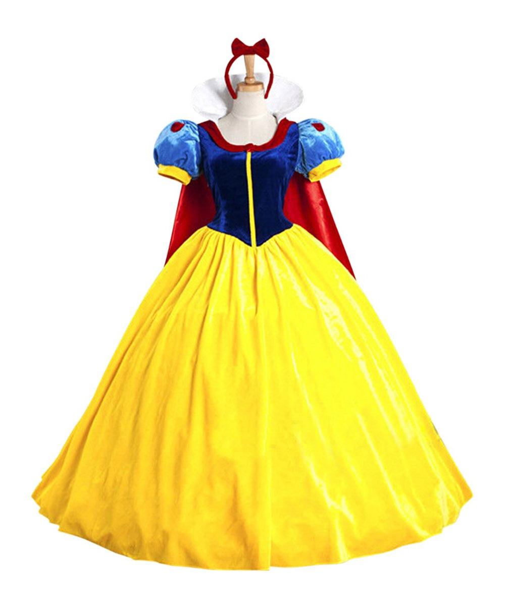 Hitmebox Women Adult Halloween Cartoon Princess Snow White Costume For Sale white snow princess