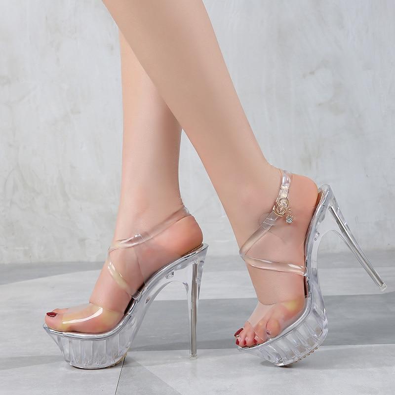 PVC Jelly Sandals Transparent Peep Toe Sandals Summer Women Wedding Shoes Cross Strap Clear Heel Crystal Platform Sandals Size43