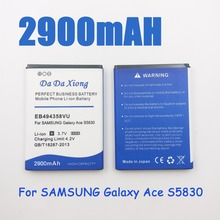 2900mAh EB494358VU Battery for Samsung Galaxy Ace 5830 S6802 B7510 i569 i579 i619 S5660 S5670 S5830I S5838 S6102 S6108 S5830