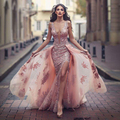 Sexy Champanhe Cor Do Laço Sereia Renda Prom Vestidos Com Overskirt Dividir Profundo Decote Em V Backless Prom 2017 Nova Abendkleider