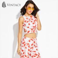 Vintacy Summer Women White Red Tank Top Beach Hollow Out Crop Tops Sleeveless Tank Top Plant