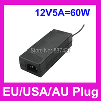 Led Power Adapter Charger 60 W 1.2 metro AC cabo longo com a ue / eua / AU Plug AC100-240V para DC 12 V 5a, Com 5.5 mm DC masculino Plug