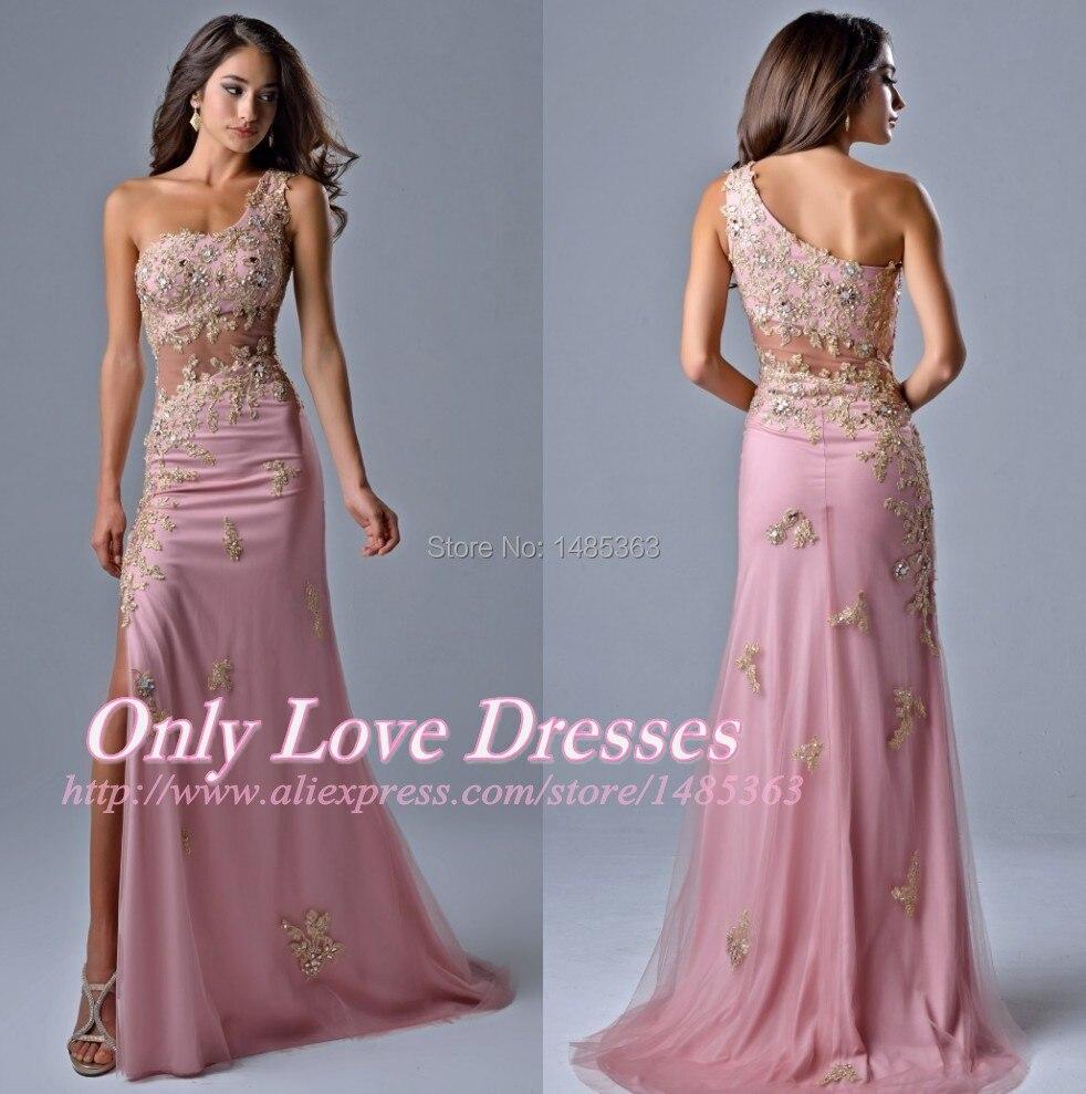 Vintage de Un Hombro Apliques de Oro Cristales Dark Pink Fiesta Vestidos Largos Opacidad Tulle 2015