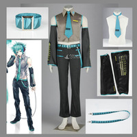 Athemis Vocaloid MIKUO Cool Man Suit Sleeveless Shirt Uniform With Tie And Lanyard Music Anime Cosplay