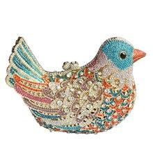 2016 beliebte luxus abendtaschen Sparkly Kristall frauen handtaschen Bunte Vogel muster Damen abendessen taschen clutches handtasche SC035