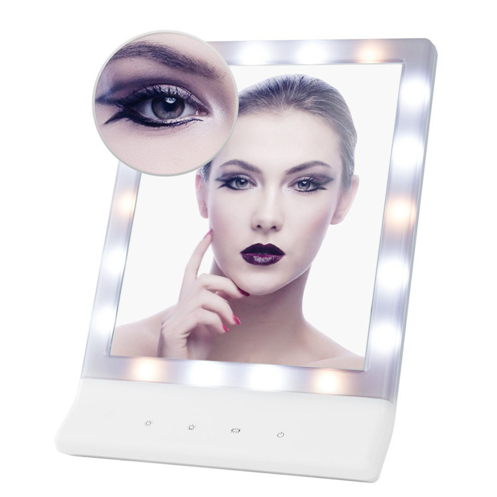 PRETTYSEE Bath 18 LED Light Kit Vanity Touch Magnifying Cosmetic Mirror With Light Lighted Makeup Mirror Vanity LED Light Bulbs woodpow makeup mirror lamps touch screen