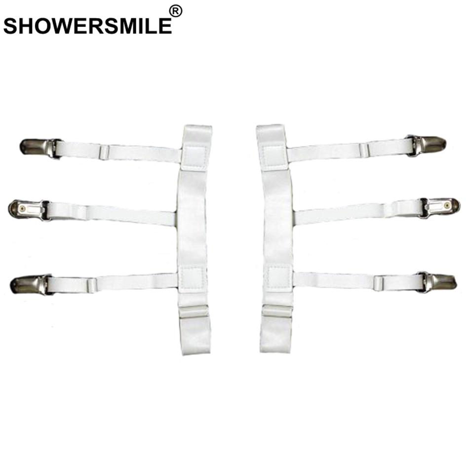 SHOWERSMILE Unisex White Shirt Stays Adjustable Leg Elastic Shirt Suspenders Men Braces For Women Solid Shirt Holder Garter Male