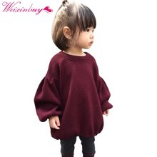 2017 Brands Baby Girls Pleated Sweaters For Girls Winter New Baby Girls\' Long Sleeve Knitted Solid Red Sweater Clothes Kids hot(China)