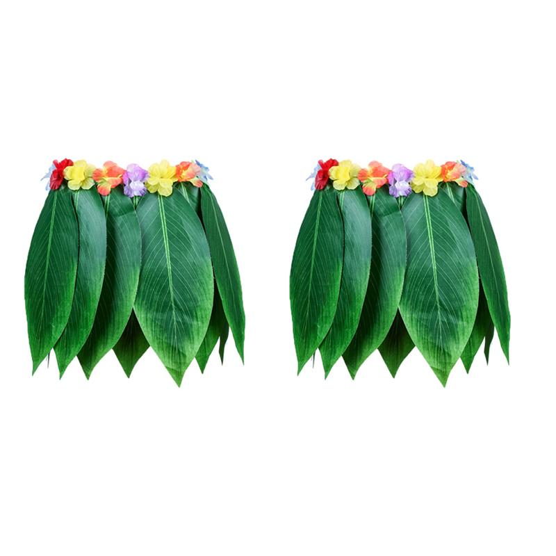 Image 5 - 4PCS Adult Tropical Hawaiian Beach Clothes Hawaii Costume Leaves Skirt Grass Skirt Dance Skirt with Garland for Traval Festival-in Party DIY Decorations from Home & Garden