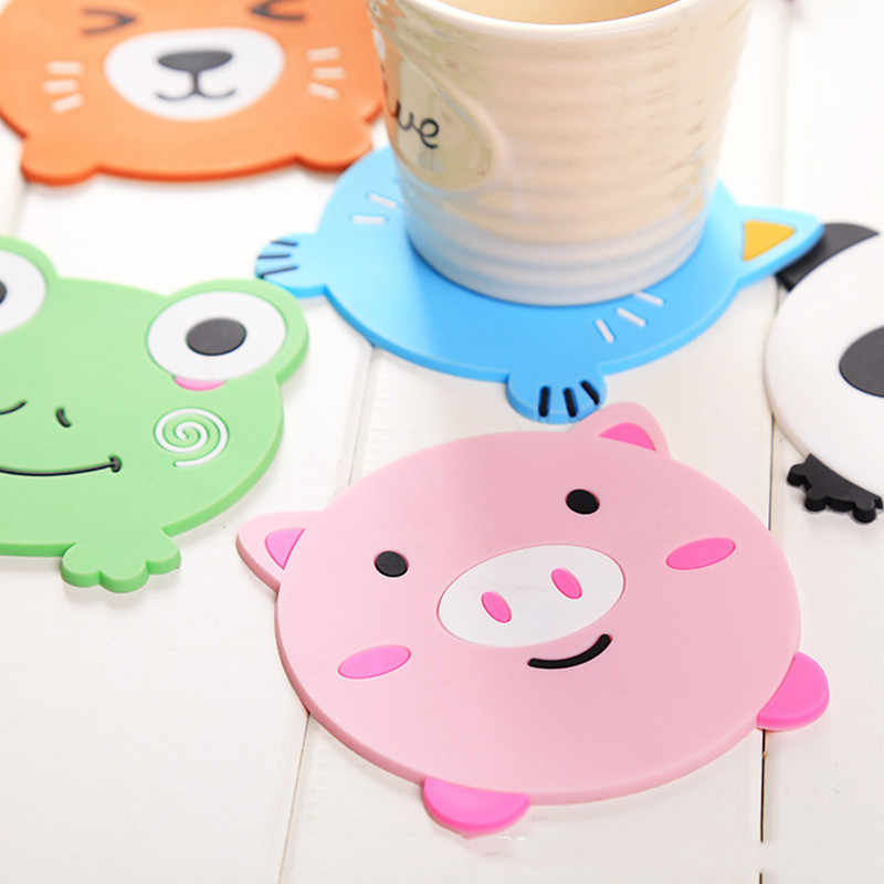 Hot Cartoon Coasters for Hot Mike Coffee Silicone Cup Mat Placemat Drink coaster Individual Kitchen Stuff Table Mats Pad holder