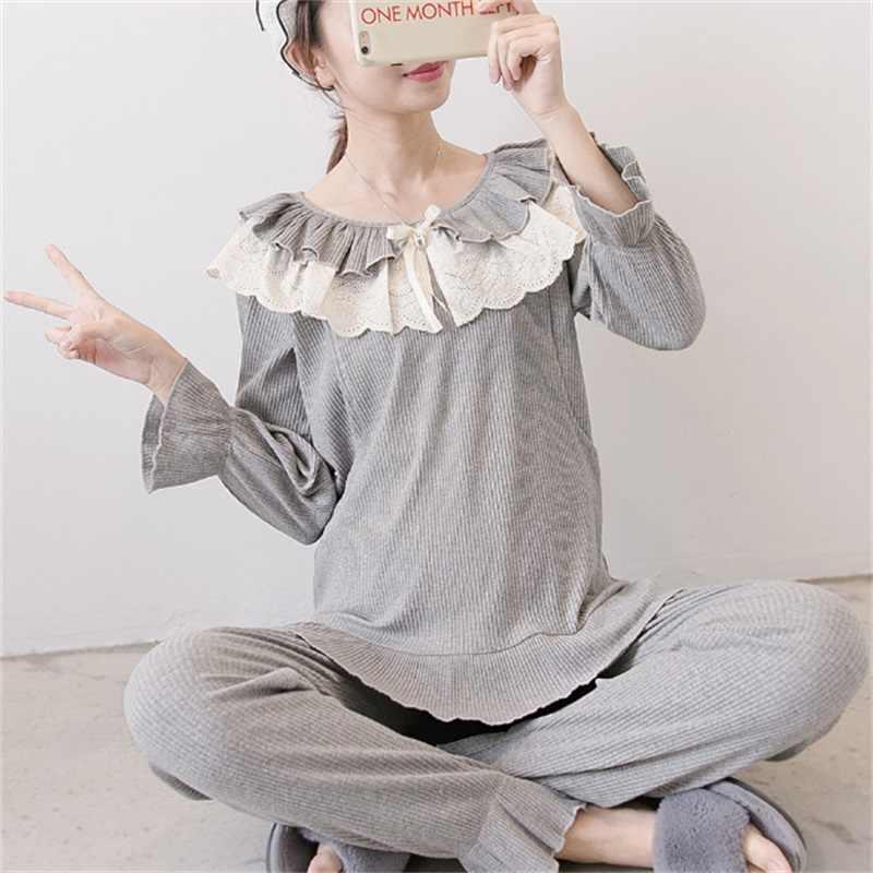fca3a91a61baf Nursing Maternity Nightwear Pyjama Maternity Breastfeeding Nightwear  Nightdress Homewear Cotton Maternity Sleepwear Sets A001