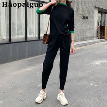Europe Style Casual Knitted 2 Pieces Set Short Sleeve Blouse and Long Pants Knitting Two Piece Sport Suit