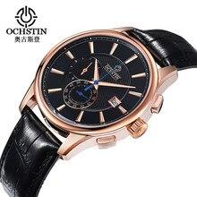 2016 corrieron ochstin marca de lujo relogio masculino original pantalla analógica fecha de acero inoxidable de los hombres de negocios reloj de cuarzo