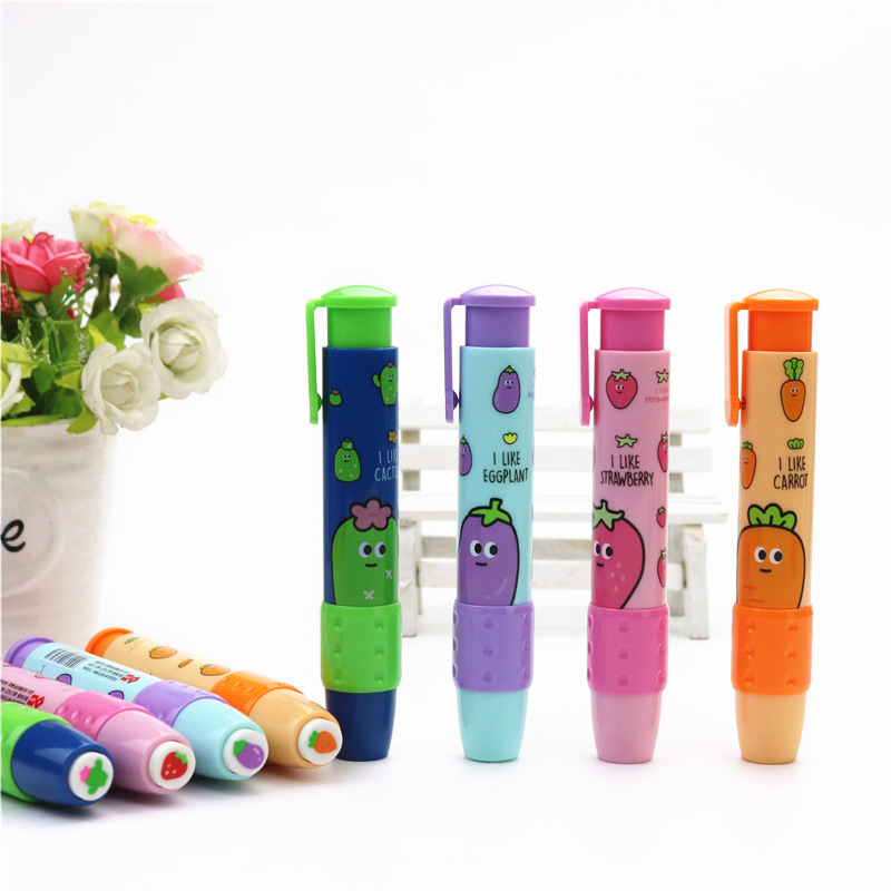 Cute Student Eraser Fruit Pattern Press Rubber Eraser New Creative School Learning Stationery