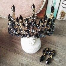Himstory Black/Blue Baroque Royal Large Crystal Tiara Crown Retro Handmade Rhinestone Headpiece Hairbands Queen Wedding Jewelry