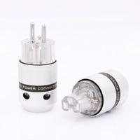 5Pairs Audio Aluminum Rhodium Plated Schuko Power Plug Male Connector+IEC Female Plug