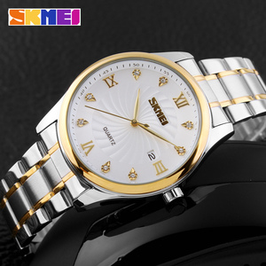 Image 3 - SKMEI Fashion Mens Watches Top Brand Luxury Business Watch Men Stainless Steel Strap Quartz Wristwatches Relogio Masculino 9101