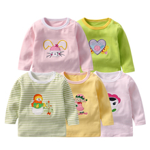 5/3/1Packs Baby Girls T-Shirts Full Sleeve Babies Clothing Cotton Tee Tops Newborn Cartoon Animal Embroidery T-Shirt Boy Clothes