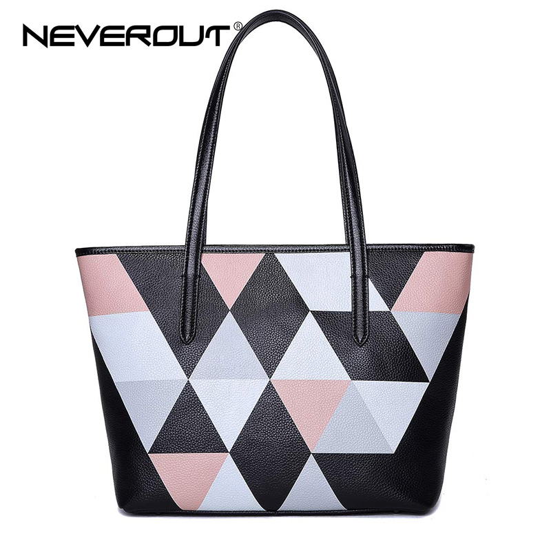 NeverOut Women Top-Handle Bag Lady Genuine Leather Casual Tote Bags Female Brand Name Handbags Style Color Patchwork Handbags 2pcs set vintage handbags women messenger bag female purse solid shoulder office lady casual tote genuine leather top handle bag