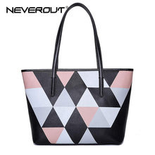 Фотография NeverOut Women Top-Handle Bag Lady Genuine Leather Casual Tote Bags Female Brand Name Handbags Style Color Patchwork Handbags