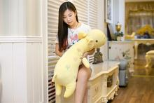 middle cute plush lying giraffe toy soft cartoon yellow giraffe pillow doll gift about 90cm 2616