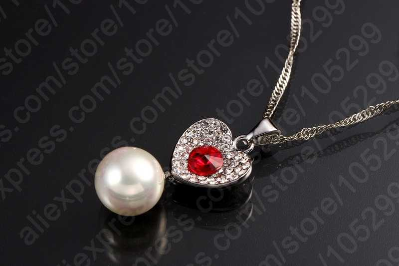 New Arrival Crystal 925 Sterling Silver Necklace Earrings Pearl Cubic Zircon Jewelry Set Women Wedding Accessories