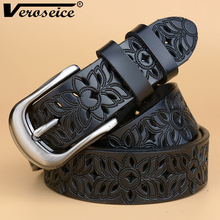 [Veroseice] New Genuine Leather women belt famale cowhide strap leather waistband belts for women luxury lady cintos ceinture