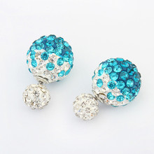 Star Jewelry Wholesale 2015 Fashion Dazzle color Stud Earrings For Women New Design Two Ball Earrings Christmas Gift