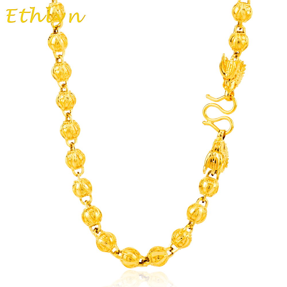 Ethlyn Dragon head handmade Round bead chain gold Color trendy Thailand/Vietnam men necklace jewelry gift wholesale N018 christmas bell enamel pendant necklace