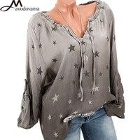 AVODOVAMA M 2018 Women Sexy V Neck Loose Shirt Top Long Sleeve Star Printed Gradient Color